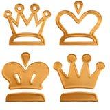 Vier abstracte gouden patroonkroon Royalty-vrije Stock Afbeeldingen