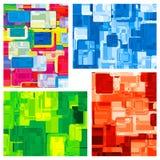 Vier abstracte kleurenachtergronden Stock Foto's
