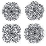 Vier abstracte mandalas Stock Fotografie