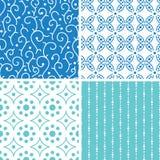 Vier abstracte naadloze geplaatste patronen van krabbelmotieven Royalty-vrije Stock Afbeeldingen