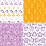 Vier abstracte roze purpere gele volksbladeren Stock Afbeeldingen