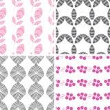 Vier abstrakte rosa graue strukturierte Blätter nahtlos Lizenzfreies Stockbild