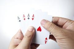 Vier Ace in der Hand Stockfotografie