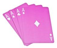 Vier Aces Gewinne die Hand Stockbilder