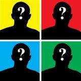 Vier achtergronden met silhouet van een jonge mens Royalty-vrije Stock Afbeeldingen
