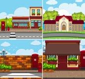 Vier achtergrondscènes met gebouwen en wegen vector illustratie