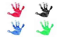 Vier Af:drukken van de Hand Stock Fotografie