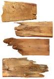 Vier alte hölzerne Bretter lokalisiert auf einem weißen Hintergrund Alte hölzerne Planke Lizenzfreie Stockfotos