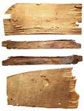 Vier alte hölzerne Bretter lokalisiert auf einem weißen Hintergrund Alte hölzerne Planke Lizenzfreies Stockfoto