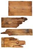 Vier alte hölzerne Bretter lokalisiert auf einem weißen Hintergrund Alte hölzerne Planke Stockfoto