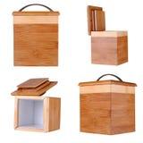 Vier Ansichten eines kleinen Bambuskastens Stockfotografie