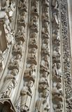 Vier archvolts op het Portaal van Maagdelijke Mary, Notre Dame de Paris, Ile DE La Cite, Parijs Frankrijk Stock Fotografie