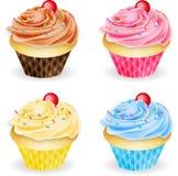 Vier Aroma's van Cupcakes Royalty-vrije Stock Foto