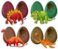 Vier Arten Dinosaurier und Eier Stockfotografie