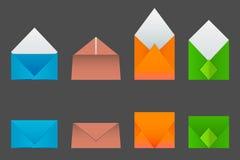 Vier Arten Umschläge gemacht von farbigem Papier Vektor Abbildung