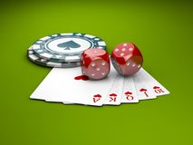 Vier Asse mit Kasinopokerchips und -würfeln Illustration der Kasino-Spiel-3D Lizenzfreie Stockfotografie