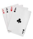 Vier Asse. Schürhakenkarten über Weiß Lizenzfreie Stockfotos