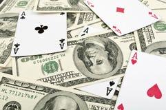 Vier Asse und 100 dolars Stockfoto