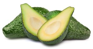 Vier Avocados lokalisiert lizenzfreie stockbilder