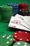 Vier azen met het gokken van spaanders Royalty-vrije Stock Foto