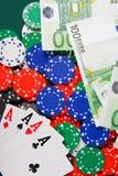 Vier azen op casinolijst royalty-vrije stock afbeelding