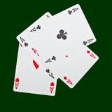 Vier azen op groen Royalty-vrije Stock Fotografie