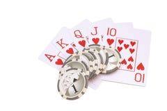 Vier azenspeelkaarten en casinospaanders Royalty-vrije Stock Foto