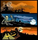 Vier banners door een vakantie Halloween Royalty-vrije Stock Afbeeldingen