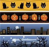 Vier banners van Halloween Stock Afbeelding