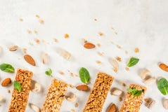 Vier bars van graangewassengranola Royalty-vrije Stock Afbeeldingen