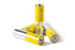 Vier Batterien, lokalisiert auf weißem Hintergrund Stockfotografie