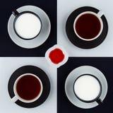 Vier Becher Getränke, stehendes Quadrat und Himbeermarmelade lizenzfreie stockfotografie