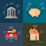 Vier bedrijfsconceptenillustraties Stock Foto's