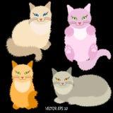 Vier beeldverhaal leuke pluizige katten op zwarte achtergrond Royalty-vrije Illustratie