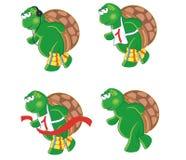 Vier beeldverhaalschildpadden Stock Afbeeldingen