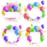 Vier bellentoespraak met kleurrijke ballons Stock Fotografie