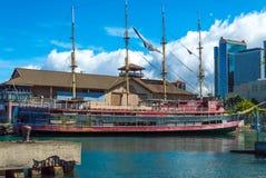 Vier bemastetes Segelschiff Stockfoto