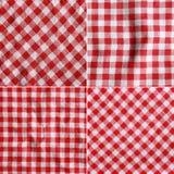 Vier Beschaffenheiten einer roten und weißen karierten Picknickdecke Stockfotografie