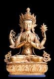 Vier-bewaffnete Form von Avalokiteshvara machte vom Metall lizenzfreies stockfoto