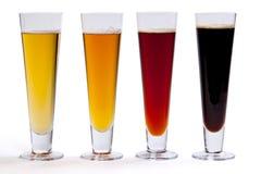 Vier Bieren in Glazen Royalty-vrije Stock Afbeelding