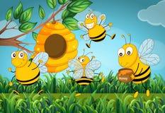 Vier bijen in de tuin stock illustratie illustratie for Vliegen in de tuin