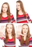 Vier Bilder einer jungen Frau im Passfotoautomaten Lizenzfreie Stockfotos
