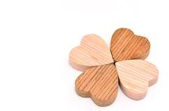 Vier-Blatt Klee gemacht vom Holz Lizenzfreie Stockfotos