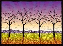 Vier blattlose Bäume Stockbild