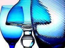 Vier blaue Gläser Lizenzfreie Stockfotos