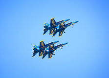 Vier Blauwe Engelen in Vorming Royalty-vrije Stock Afbeeldingen