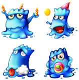 Vier blauwe monsters Stock Foto's