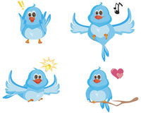 Vier blauwe vogels Stock Foto's