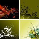Vier bloemen geplaatste achtergronden Stock Foto's