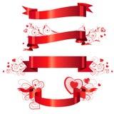 Vier bloemen rode banners Royalty-vrije Stock Fotografie
